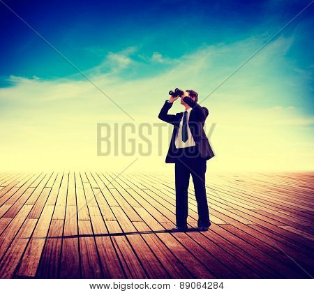 Businessman Alone Looking Explore Searching Landscape Concept