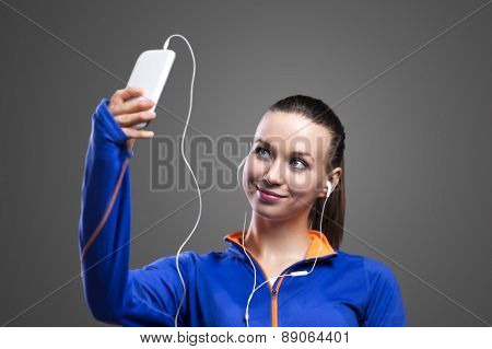 Runner taking a selfie