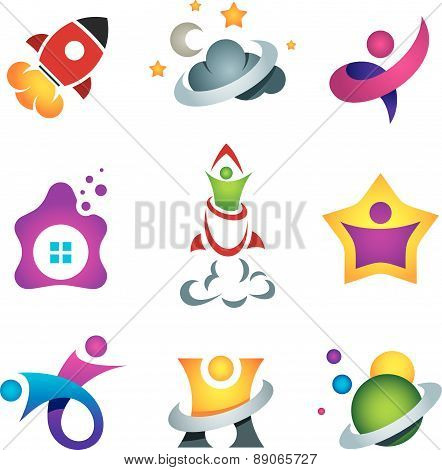 Man exploring the deep space - rocket launch and flying to the stars designer concept icon