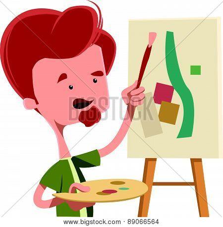 Artist abstract painting vector illustration cartoon character