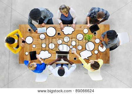 Diversity People Brainstorming Discussion Digital Communication Concept