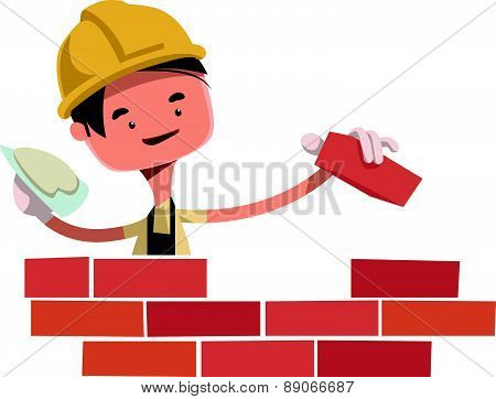 Construction worker building wall vector illustration cartoon character