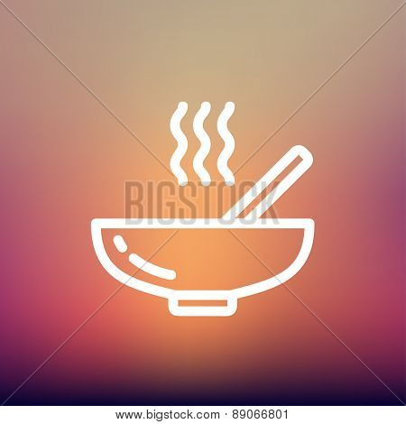 Hot meal in bowl icon thin line for web and mobile, modern minimalistic flat design. Vector white icon on gradient mesh background.