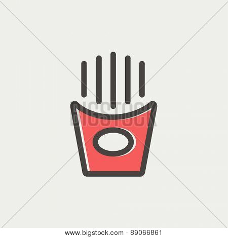 Popcorn icon thin line for web and mobile, modern minimalistic flat design. Vector icon with dark grey outline and offset colour on light grey background.