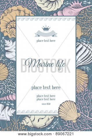 Vintage card with hand drawn sea elements - shells and corals. Vector illustration.
