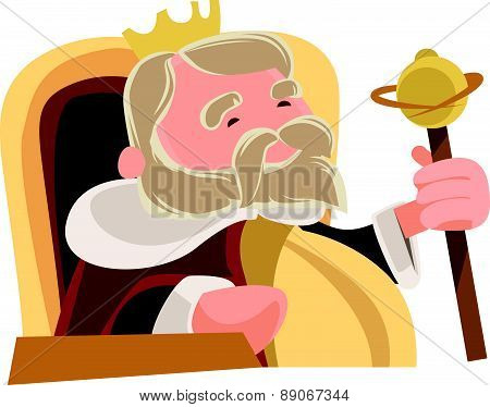Old wise king sitting royal vector illustration cartoon character