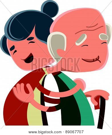 Old couple hugging vector illustration cartoon character