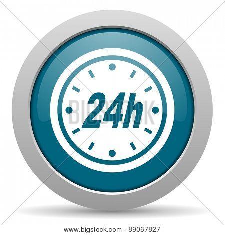 24h blue glossy web icon