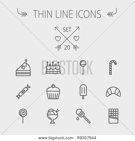 Food and drink thin line icon set for web and mobile. Set includes- cake, candy, lollipop, cupcake, ice cream, honey dipper, popsicle, waffle icons. Modern minimalistic flat design. Vector dark grey