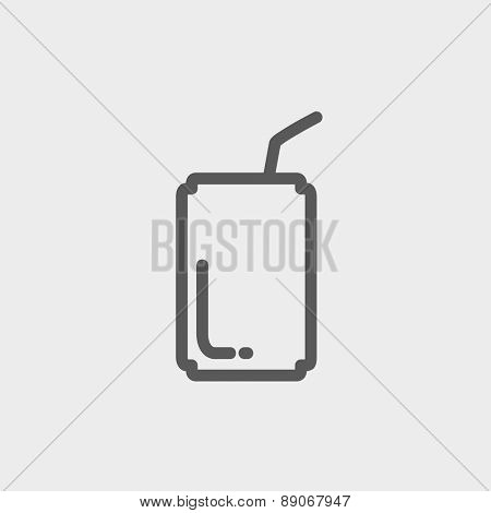 Soda can with straw icon thin line for web and mobile, modern minimalistic flat design. Vector dark grey icon on light grey background.