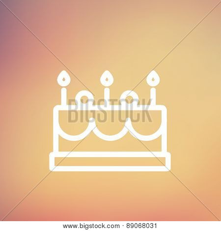 Birthday cake with candle icon thin line for web and mobile, modern minimalistic flat design. Vector white icon on gradient mesh background.