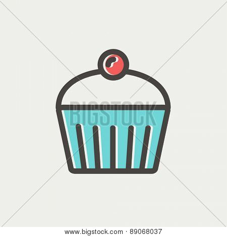 Cupcake with raspberry icon thin line for web and mobile, modern minimalistic flat design. Vector icon with dark grey outline and offset colour on light grey background.