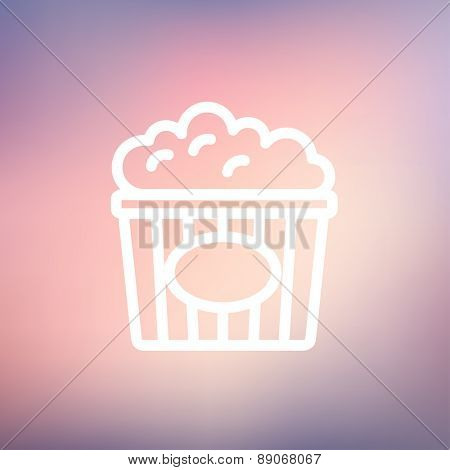 Popcorn icon thin line for web and mobile, modern minimalistic flat design. Vector white icon on gradient mesh background.