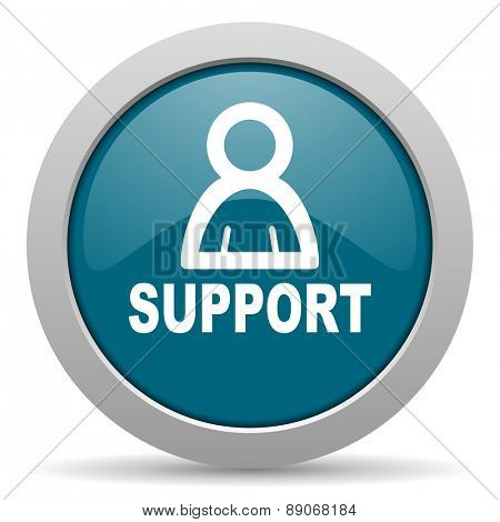 support blue glossy web icon