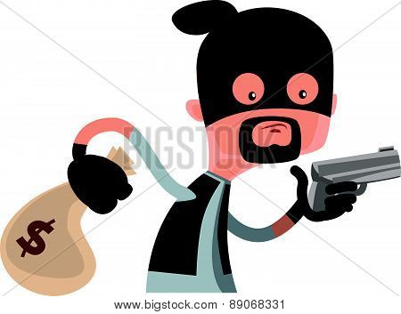 Thief in black holding a gun vector illustration cartoon character