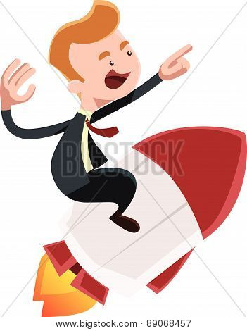Full power forward businessman on rocket vector illustration cartoon character