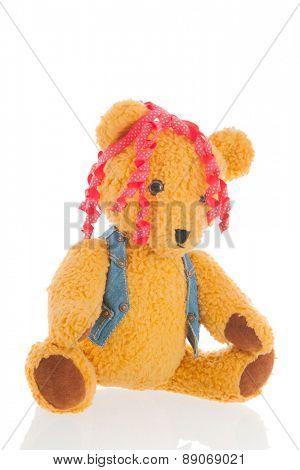Stuffed female,bear isolated over white background
