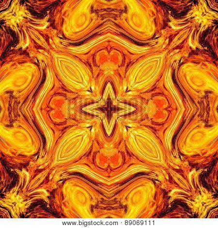 Seamless Kaleidoscope Texture Or Pattern In Orange Spectrum 3