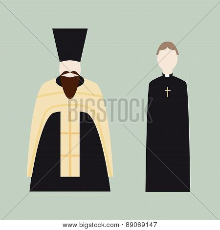 Religious icons with Christian priests