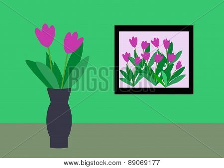Frame and Vase with Flowers