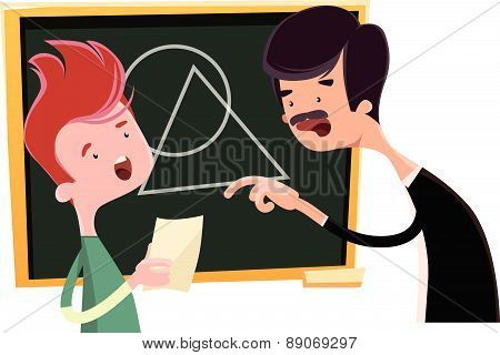 Teacher teaching geometrical shapes vector illustration cartoon character