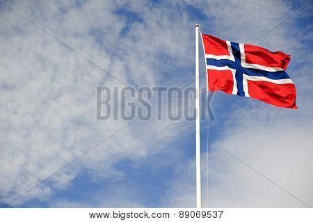 Norwegian flag waving on the wind