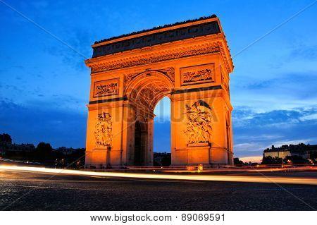 Arc de Triomphe at sunset, Paris, France