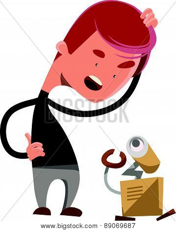 Crazy robot technology vector illustration cartoon character