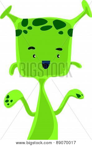 Green alien with antennas vector illustration cartoon character