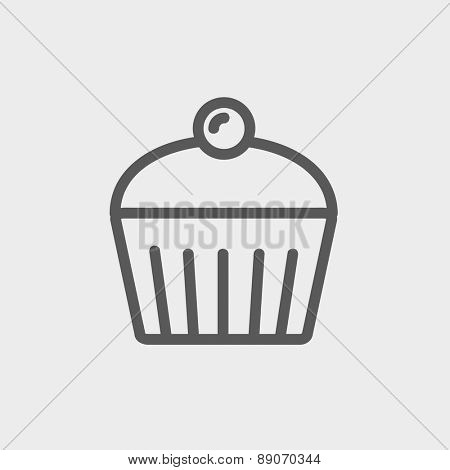 Cupcake with raspberry icon thin line for web and mobile, modern minimalistic flat design.  Vector dark grey icon on light grey background.