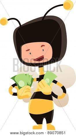 Man in honey bee costume holding money vector illustration cartoon character