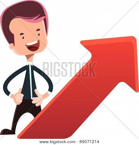 Businessman next to red arrow vector illustration cartoon character