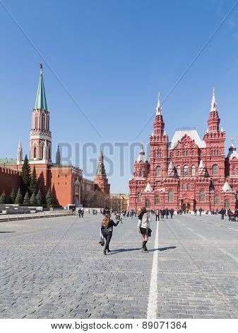 People Walk On The Red Square In The Spring
