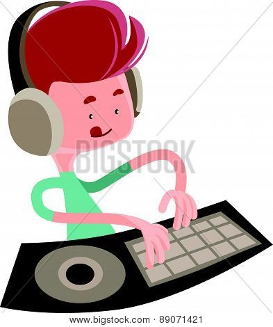 Dj playing music beats vector illustration cartoon character
