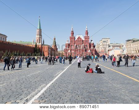 People Relax On The Red Square