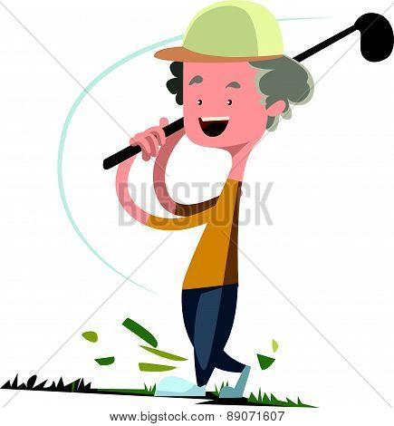 Man playing golf vector illustration cartoon character