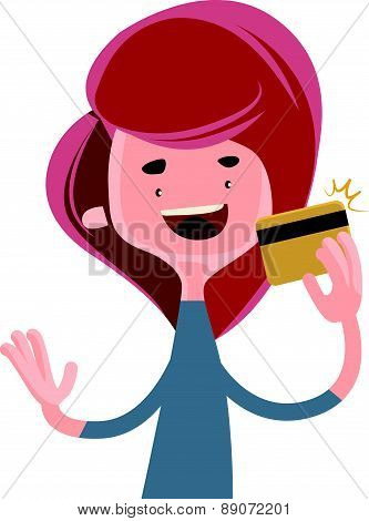 Girl holding gold credit card vector illustration cartoon character