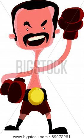 Mad boxer fighter vector illustration cartoon character