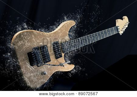 Sexy electric guitar natural wood with water splashing