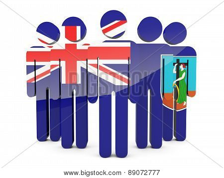 People With Flag Of Montserrat