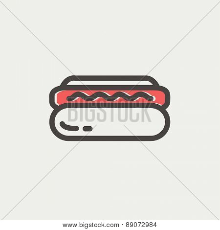 Hotdog sandwich icon thin line for web and mobile, modern minimalistic flat design. Vector icon with dark grey outline and offset colour on light grey background.