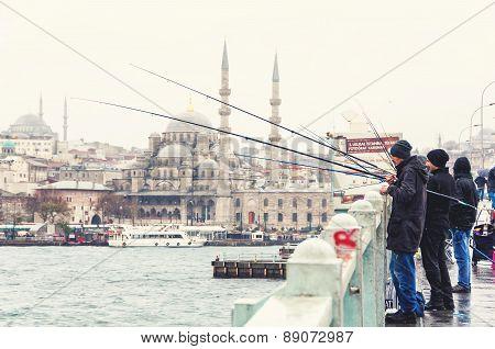 Fishermen In Istanbul Galata Bridge
