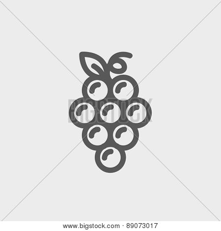 Bunch of grapes icon thin line for web and mobile, modern minimalistic flat design. Vector dark grey icon on light grey background.