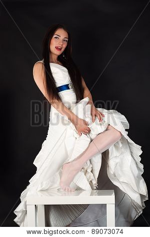 seductive woman in a wedding stocking