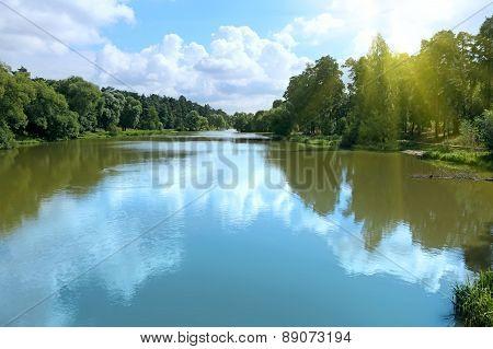 Summer Landscape Withl River