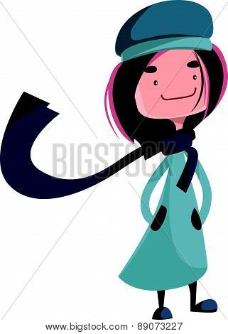 Mysterious young beautiful girl vector illustration cartoon character
