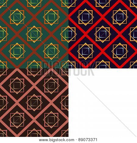 Set Of Three Color Abstract Squares Seamless Vector Patterns