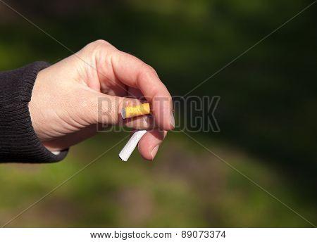 Female Hand Breaks A Cigarette