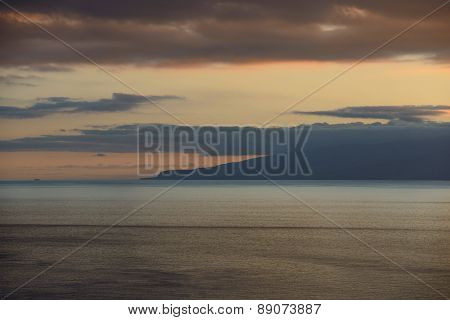 Clouds Over Gomera Island In Afterglow, Tenerife, Canary, Spain.