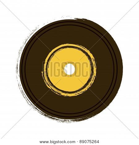 Long PLay retro disc on white background vector illustration